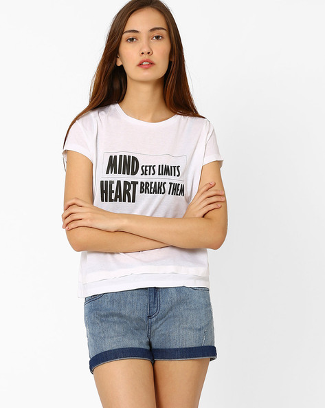 Graphic Print Cotton T-shirt By Chemistee ( White ) - 460023029005