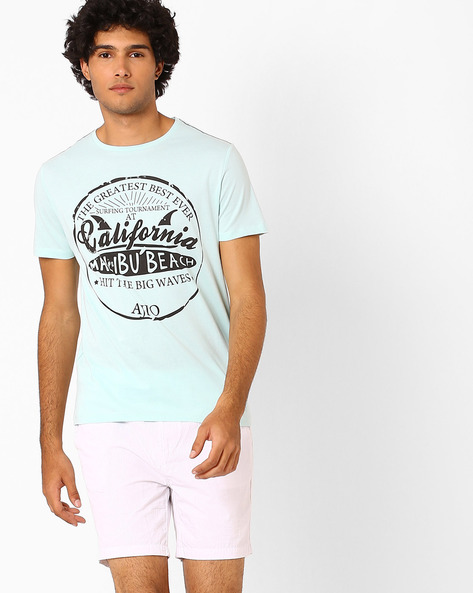 Printed Crew-Neck T-shirt By AJIO ( Lightblue )