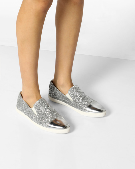 Shimmery Casual Slip-Ons By AJIO ( Silver )