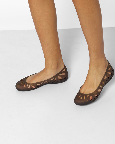 Adrina III Flat W Shoes With Cutwork By CROCS ( Brown )