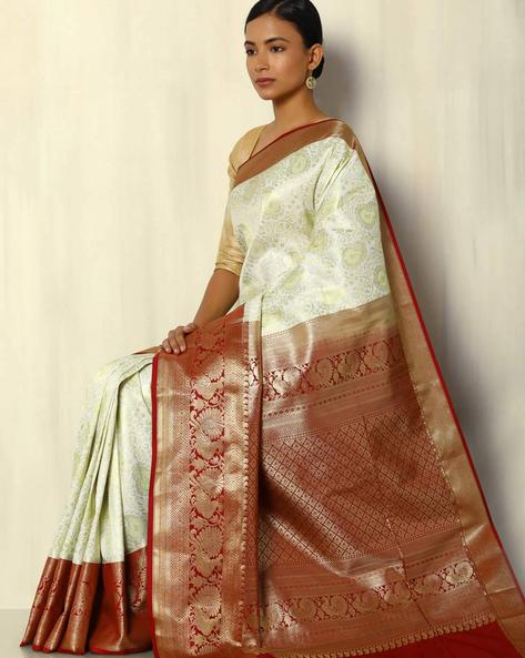 Zari Brocade South Silk Saree By Pretty Woman ( White )