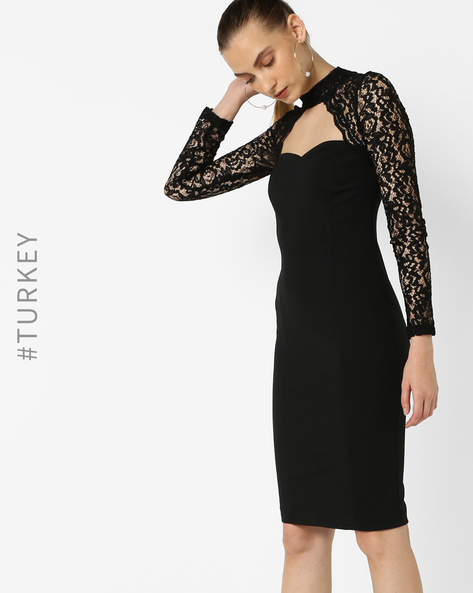Bodycon Dress With Choker Neckline By TRENDYOL ( Black )