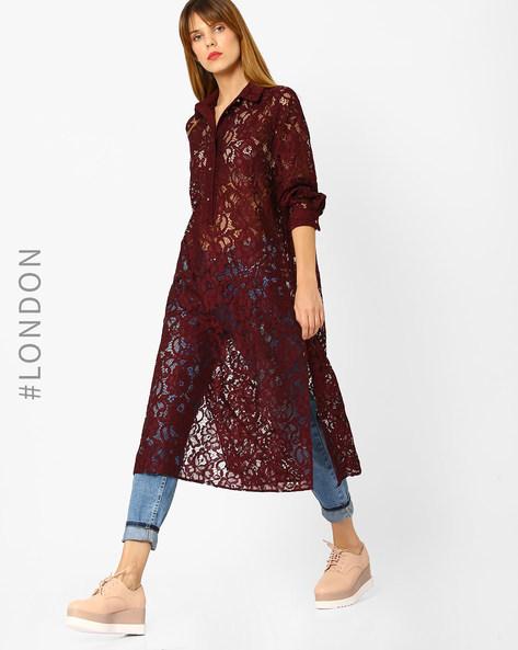 Floral Lace Shirt Dress By Closet London ( Wine )