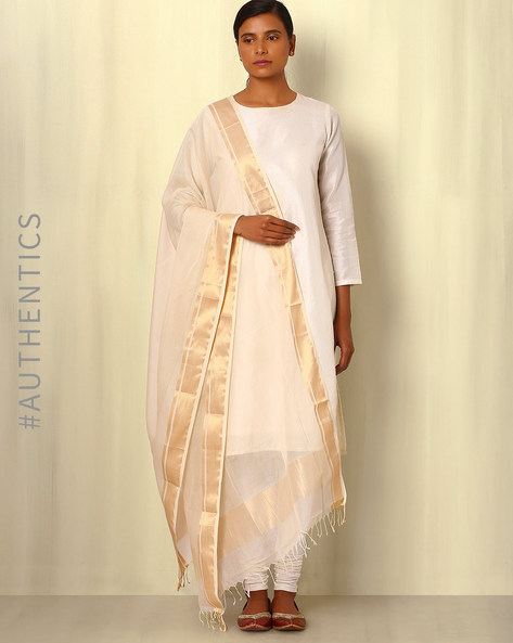 Handwoven Maheshwari Silk Cotton Dupatta By GoCoop ( Cream )
