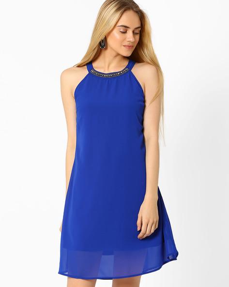 A-line Dress With Embellished Neckline By AJIO ( Blue )
