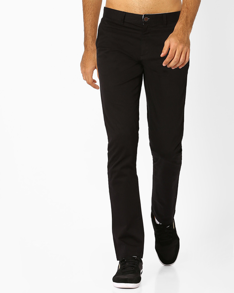 Mid-Rise Slim Fit Stretch Chinos By AJIO ( Black )