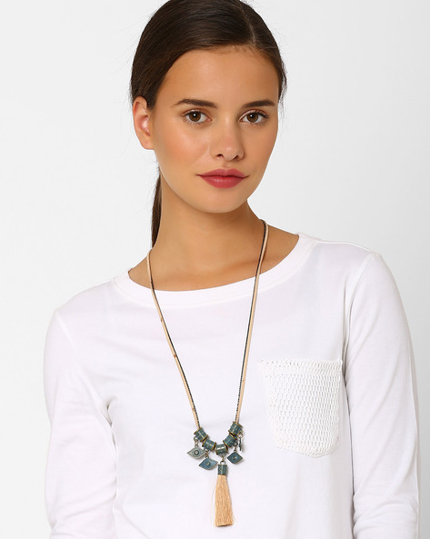 Tasselled Necklace With Cord By Style Fiesta ( Multi )
