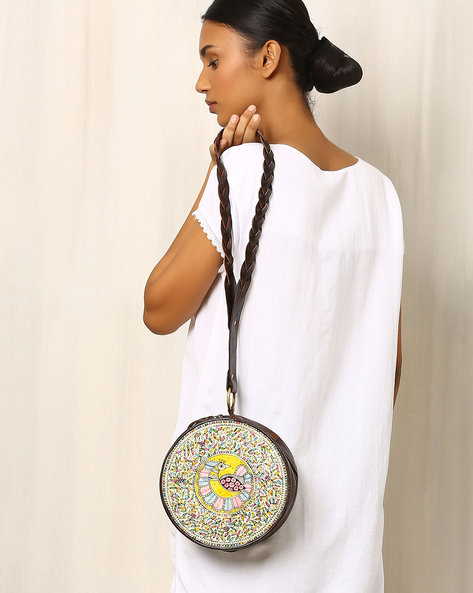 Hand-Painted Circular Leather Sling Bag By Moya ( Multi )