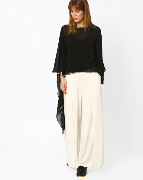 Top With Asymetric Kaftan Sleeves By And ( Black )