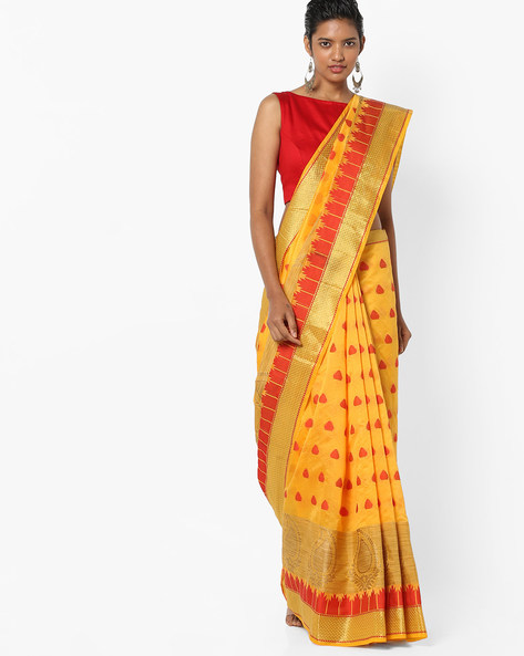Banarasi Saree With Woven Design By Era ( Yellow )
