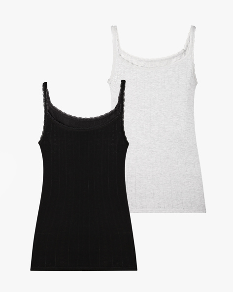 Pack Of 2 Thermal Pointelle Strappy Vests By Marks & Spencer ( Clearblack )