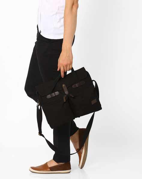 Canvas Tote Messenger Bag By AJIO ( Black )