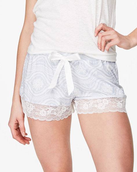 Printed Jersey Shorts With Lace Trims By Hunkemoller ( Bbl )