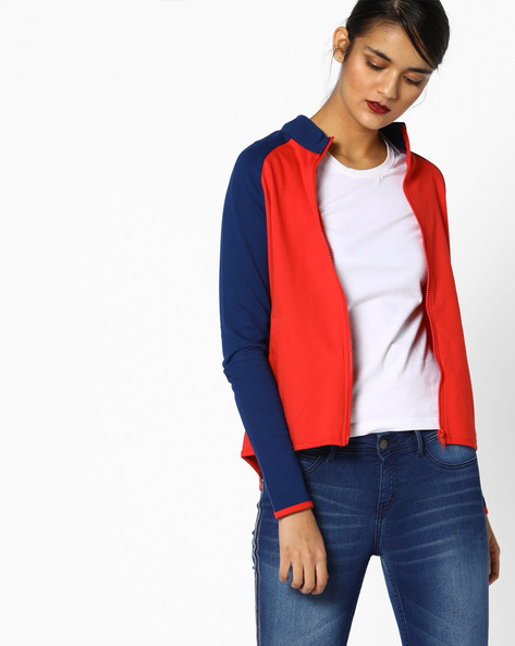 Colourblock Printed Sweatshirt By AJIO ( Red )