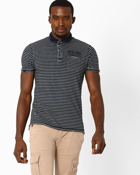 Slim Fit Striped Polo T-shirt By DNM X ( Blue )