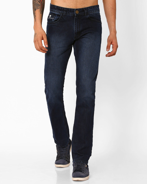 Lightly Washed Slim Fit Jeans By JOHN PLAYERS ( Indigo )