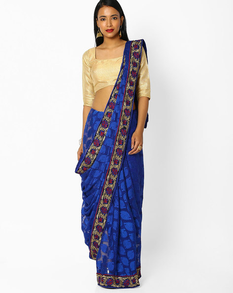 Brasso Embroidered Saree By Majestic Silk ( Blue )