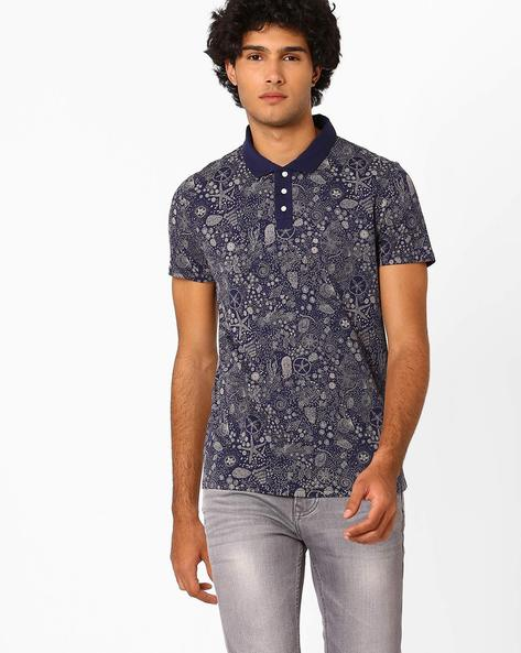All-Over Print Polo T-shirt By AJIO ( Blue )