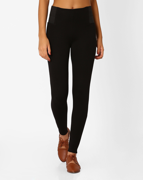 Mid-Rise Cropped Leggings By Only ( Black )