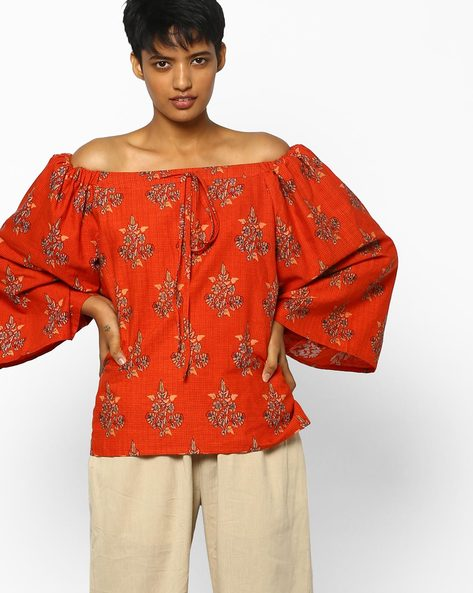 Floral Print Off-Shoulder Top By PE IW Fusion ( Red )
