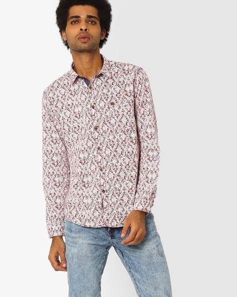 Printed Cotton Shirt By SIN ( Maroon )