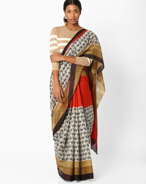 Elephant Print Saree With Contrast Border By Amori ( Orange )
