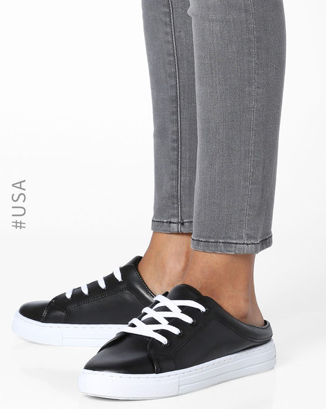 Slip-On Shoes With Lace-Ups By QUPID ( Black )