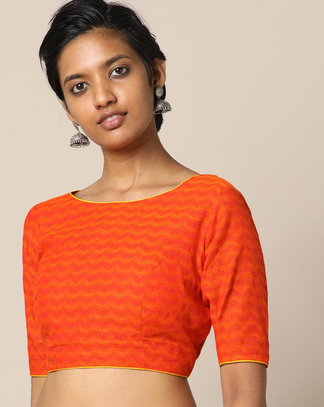 South Cotton Dobby Blouse With Dori Tie-Up By Indie Picks ( Orange )