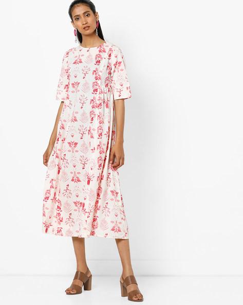 Floral Print Midi Dress By AJIO ( Red )