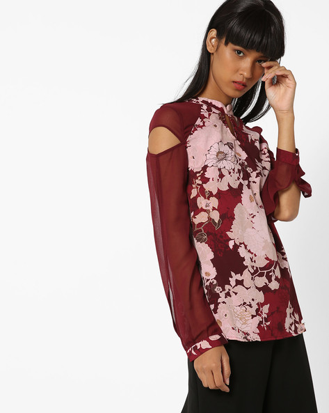 Panelled Floral Print Top By Oxolloxo ( Multicolor )