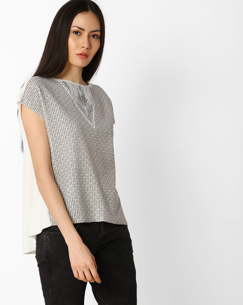 Printed High-Low Top By Vero Moda ( White )