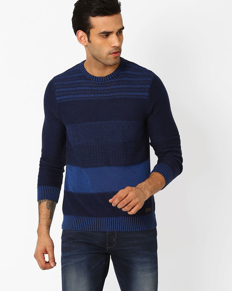 Striped Crew-Neck Sweater By WRANGLER ( Blue )