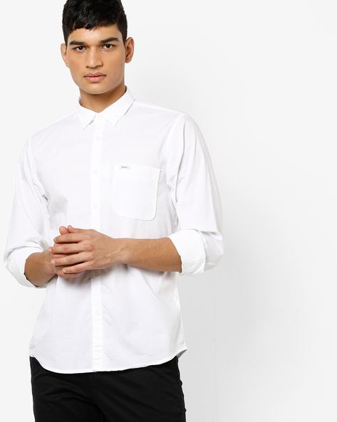 Cotton Shirt With Spread Collar By Pepe Jeans ( White )