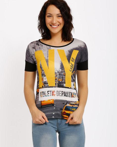 Printed T-Shirt By Ajile By Pantaloons ( Black )