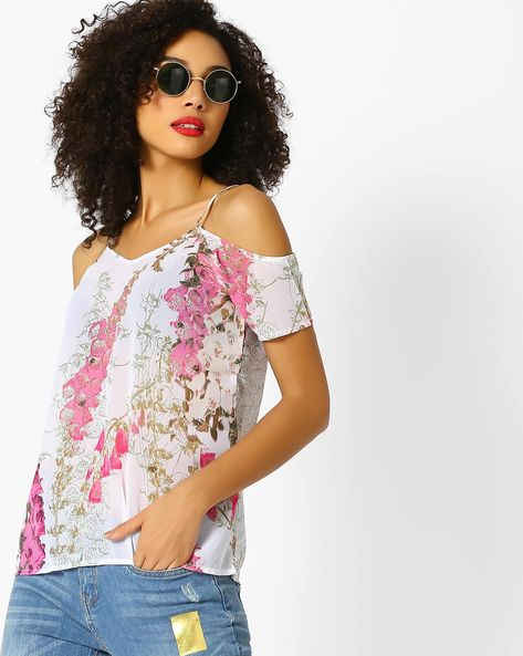 Floral Print Top With Cold-Shoulder Sleeves By Sassafras ( Multi )
