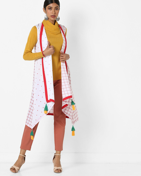 Checked Longline Shrug With Tassels By AJIO ( White )