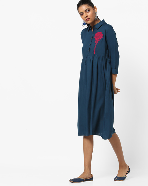 Shirt Dress With Placement Embroidery By UNTUNG ( Navyblue )
