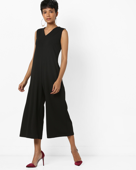 Calf-Length Sleeveless Jumpsuit By AJIO ( Black )