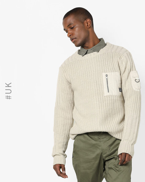 Ribbed Jumper With Chest Pocket By BRAVE SOUL ( Khaki )