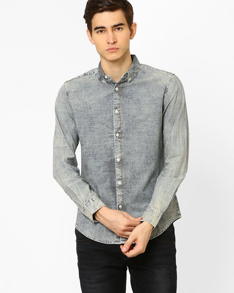 Slim Fit Shirt With Washed Effect By Blue Saint ( Lightblue )