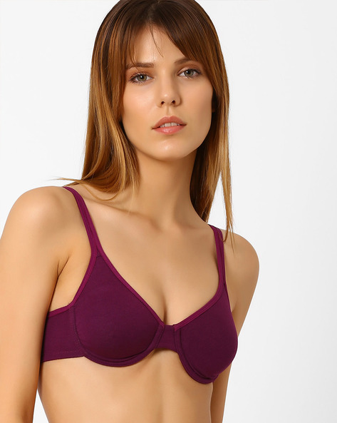 Underwired Bra With Adjustable Straps By Zivame ( Purple )