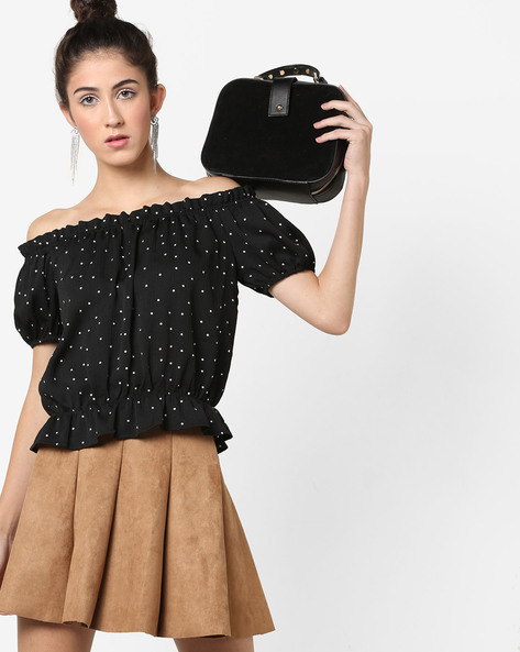 Polka-Dot Off-Shoulder Top By AJIO ( Black )
