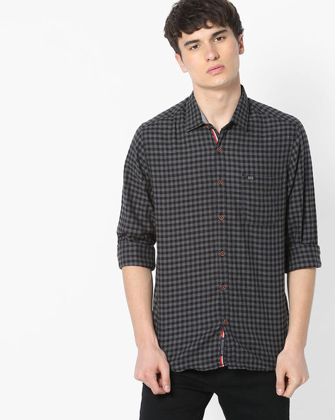 Slim Fit Checked Shirt With Patch Pocket By The Indian Garage Co ( Gray )