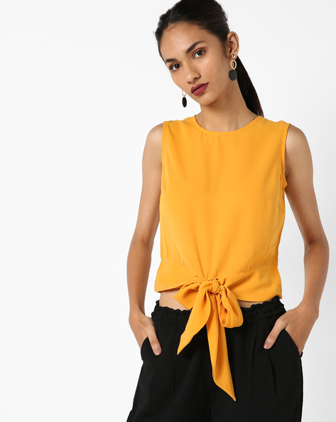 Sleeveless Top With Tie-Up By AJIO ( Mustard )