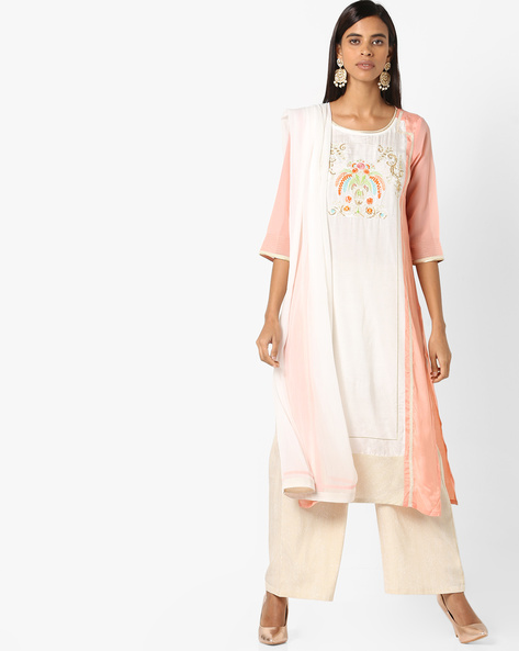 Embroidered Kurta Suit Set With Dupatta By AURELIA ( Peach )