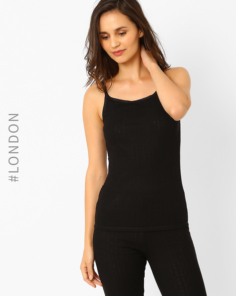 Pack Of 2 Thermal Pointelle Strappy Vests By Marks & Spencer ( Black )