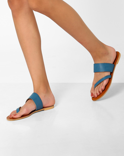Strappy Faux-Leather Sandals By AJIO ( Teal )