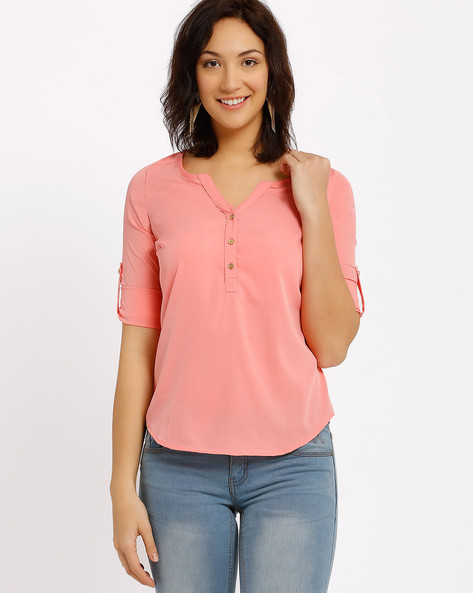 Top With Roll-Up Tabs By Annabelle By Pantaloons ( Pink )