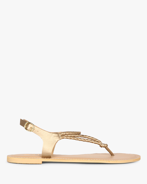 AJIO WOMEN FLAT SANDALS, GOLD, 36 By AJIO ( Gold )