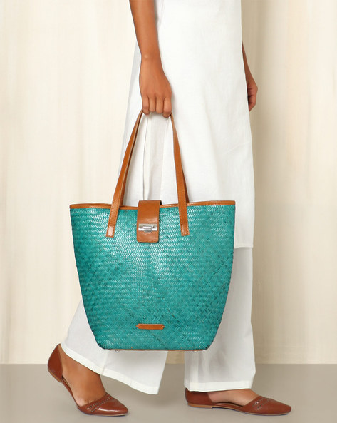 Handcrafted Natural Fibre Tote Bag By Indie Picks ( Green )